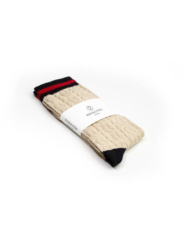 Chaussettes ivoire à torsades et bord-côte rayé marine et rouge