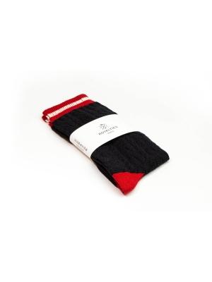 Chaussettes marine à torsades et bord-côte rayé écru et rouge