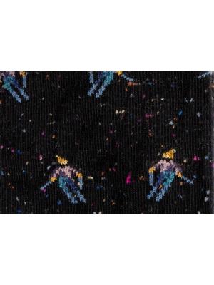 Chaussettes en fils mouchetés noirs à motifs de skieur