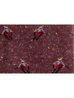 Chaussettes en fils mouchetés bordeaux à motifs de skieur
