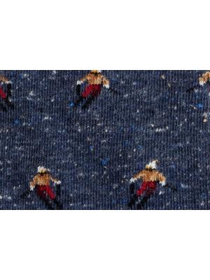 Chaussettes en fils mouchetés bleus à motifs de skieur