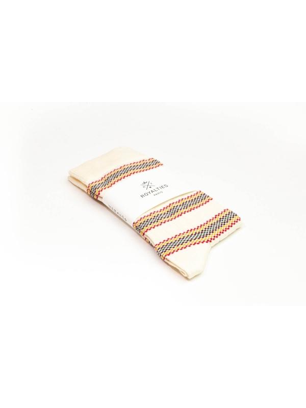 Chaussettes ivoire à rayures multicolores