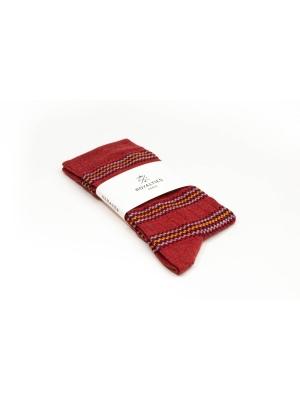 Chaussettes rouge à rayures multicolores