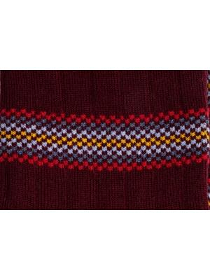 Chaussettes bordeaux à rayures multicolores