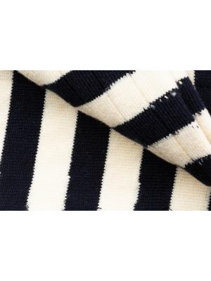 Chaussettes marine et ivoire à côtes et rayures rugby