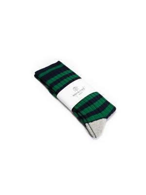 Chaussettes marine et vertes à côtes et rayures rugby