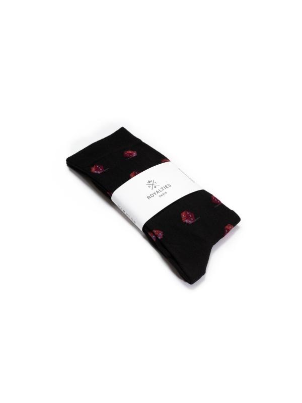 Chaussettes noires à motifs de dés bordeaux d'inspiration vintage