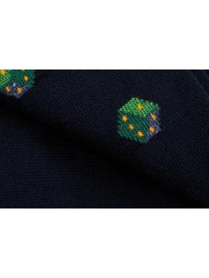 Chaussettes marine à motifs de dés verts d'inspiration vintage