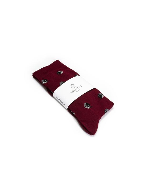 Chaussettes bordeaux à motifs de dés gris d'inspiration vintage