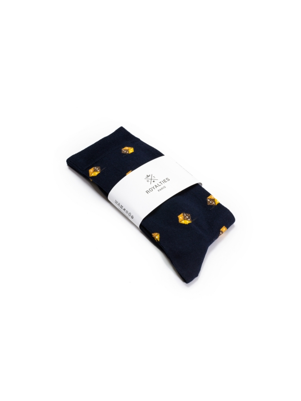 Chaussettes marine à motifs de dés ocre d'inspiration vintage