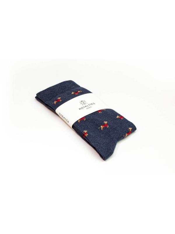 Chaussettes bleues à motifs de teckel