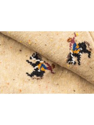Chaussettes beiges en fils mouchetés à motifs de cowboy en plein rodéo