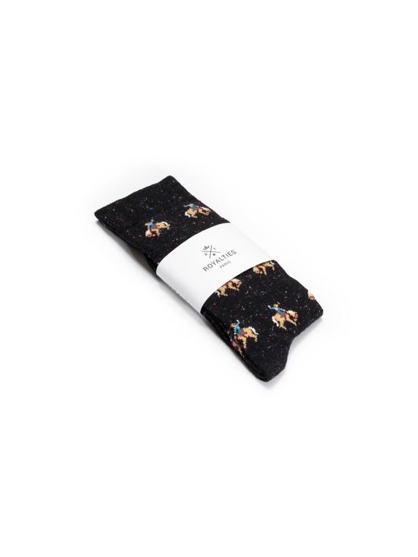 Chaussettes noires en fils mouchetés à motifs de cowboy en plein rodéo