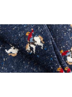 Chaussettes bleues en fils mouchetés à motifs de cowboy en plein rodéo