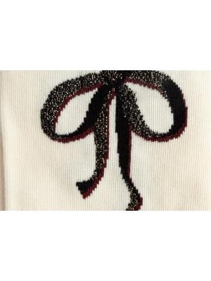 Chaussettes fines écrues au trompe l'œil ruban