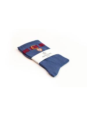 Chaussettes fines bleues au trompe l'œil ceinture