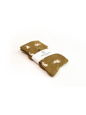 Chaussettes bronze brillantes à motifs de lapins et carottes