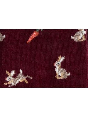 Chaussettes bordeaux à motifs de lapins et carottes