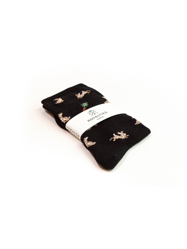 Chaussettes noires à motifs de lapins et carottes