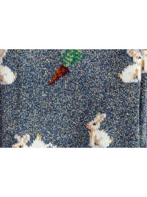 Chaussettes bleues brillantes à motifs de lapins et carottes