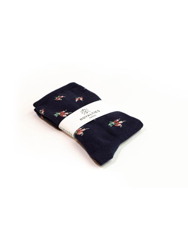Chaussettes marine à motifs de radis