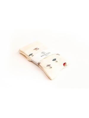 Chaussettes ivoire à motifs de champignons