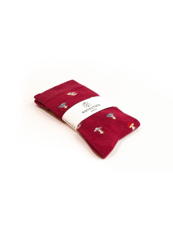 Chaussettes bordeaux à motifs de champignons