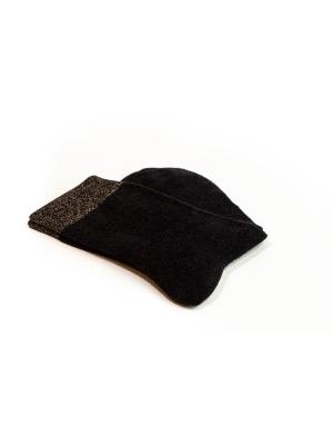 Chaussettes noires en coton velours ultra doux et bord côte brillant