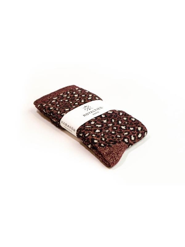 Chaussettes bordeaux brillantes et douces à motif léopard