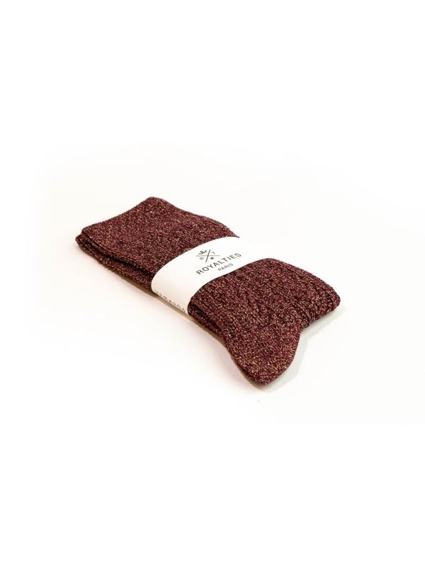 Chaussettes bordeaux brillantes à tricotage épi de blé