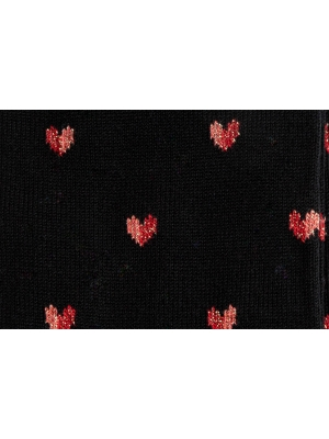 Chaussettes noires à motifs de cœurs bicolores