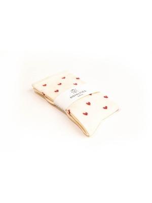 Chaussettes ivoire à motifs de cœurs bicolores