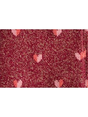 Chaussettes rouges brillantes à motifs de cœurs bicolores