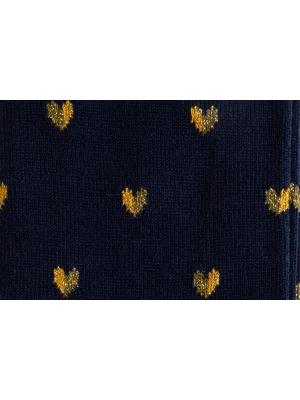 Chaussettes marine à motifs de cœurs bicolores