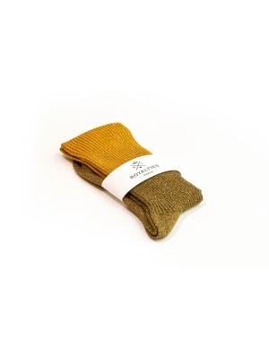 Chaussettes bronze à paillettes et fines côtes en color block