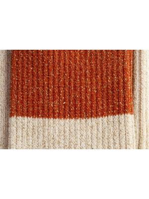Chaussettes cuivre à paillettes et fines côtes en color block