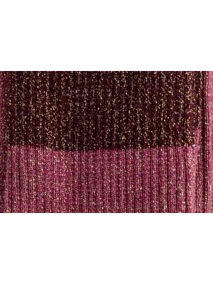 Chaussettes bordeaux et roses à paillettes et fines côtes en color block