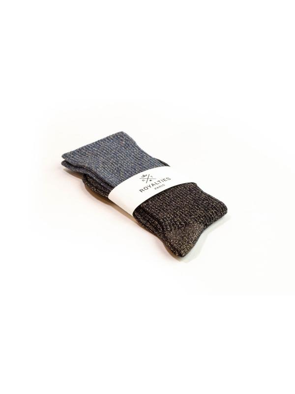 Chaussettes bleues à paillettes et fines côtes en color block
