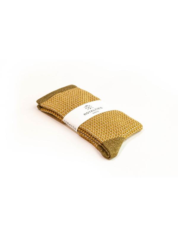Chaussettes brillantes en nid d'abeille bronze