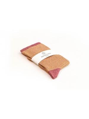 Chaussettes brillantes en nid d'abeille rose