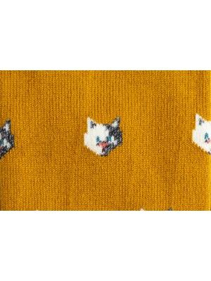 Chaussettes ocre à motifs de chats