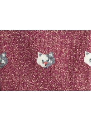 Chaussettes brillantes roses à motifs de chats