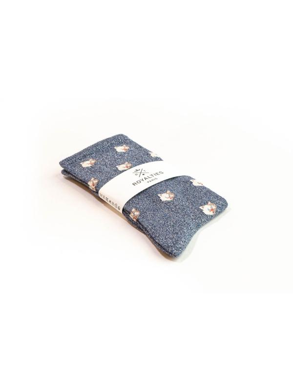 Chaussettes brillantes bleues à motifs de chats