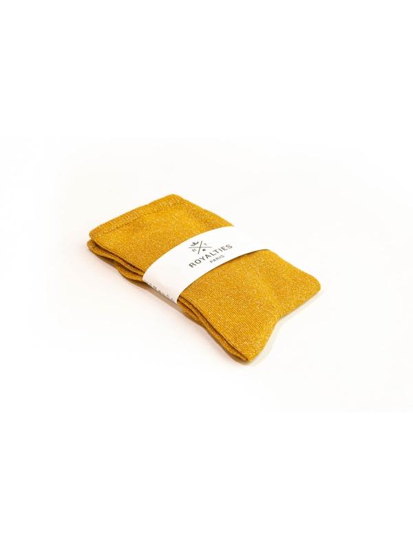 Chaussettes ocre unies à paillettes