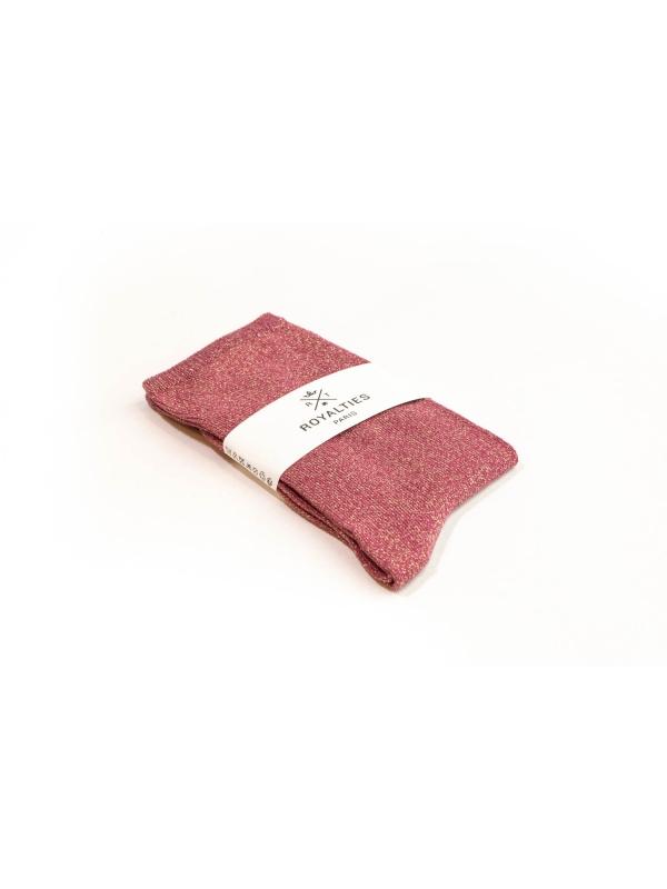Chaussettes roses unies à paillettes