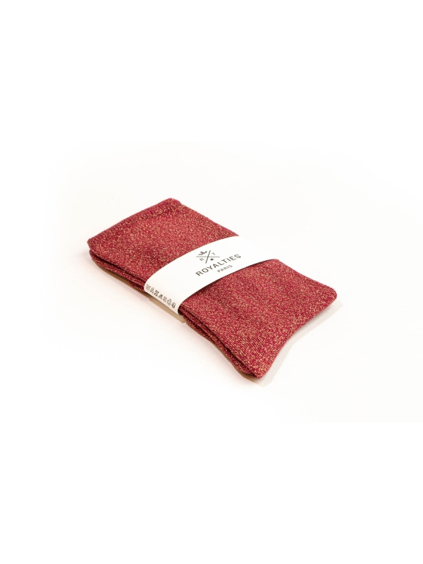 Chaussettes rouges unies à paillettes