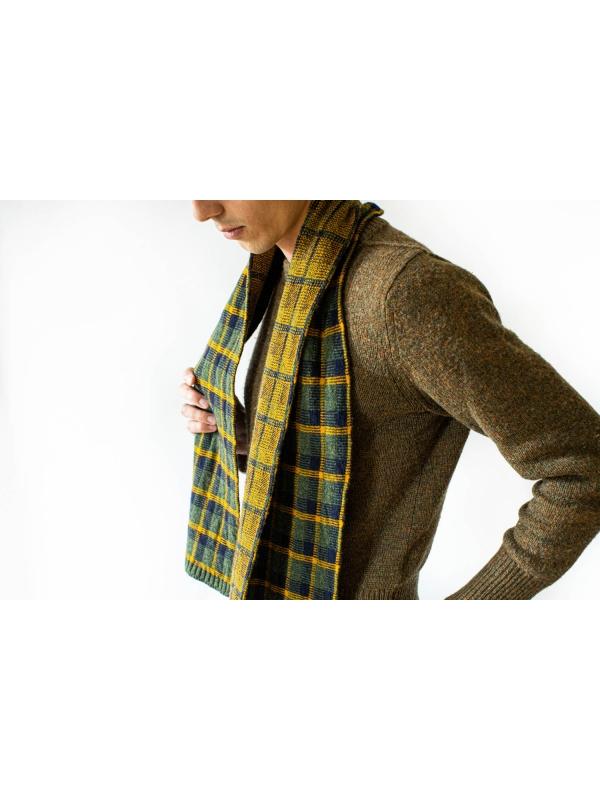 Echarpe en laine à motif tartan kaki et ocre