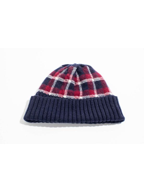 Bonnet en laine à motif tartan marine et bordeaux