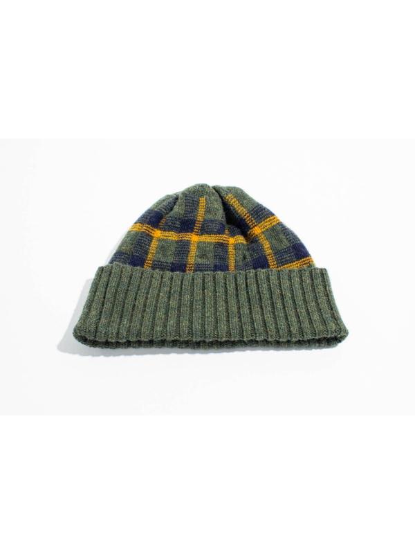 Bonnet en laine à motif tartan kaki et ocre