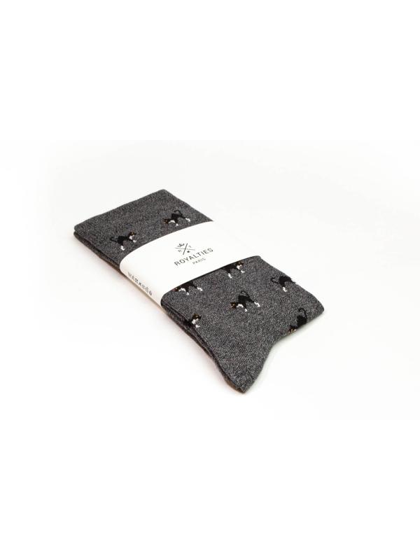 Chaussettes grises à motifs de chats